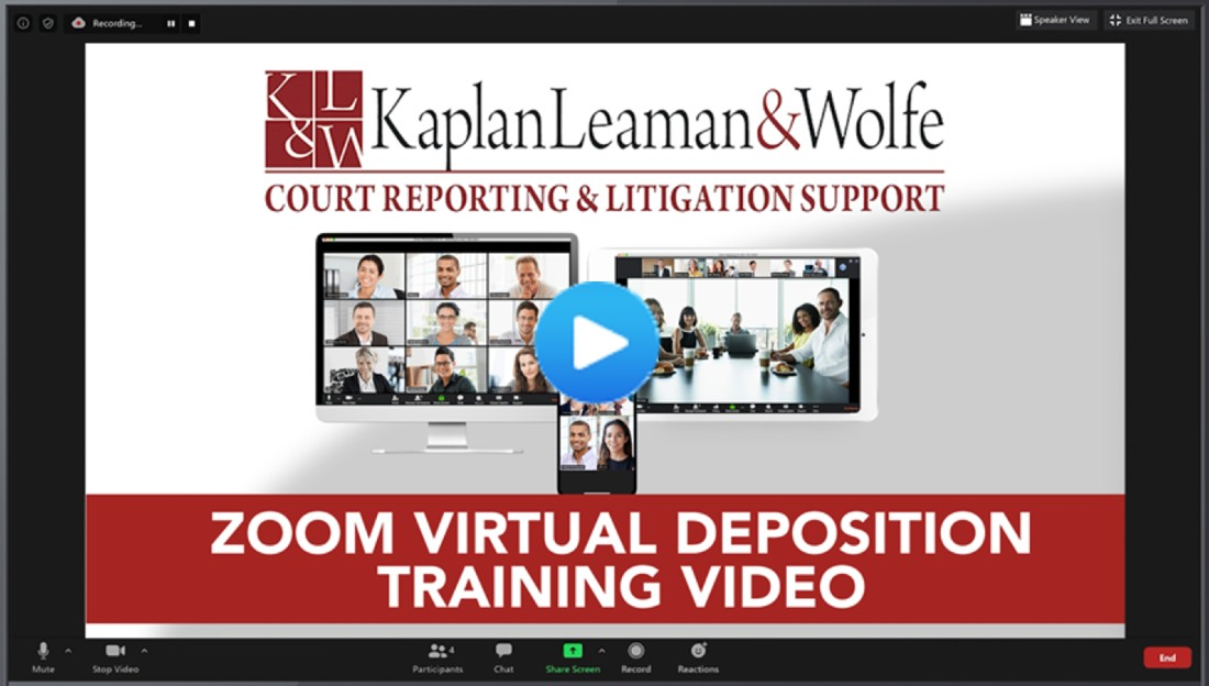 KLW Zoom Virtual Remote Depositions Video